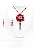 Vintage Crystal and Ruby Blossom Pendent Necklace