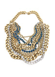 Janis Savitt Gold Multi-Chain Necklace with Crystals