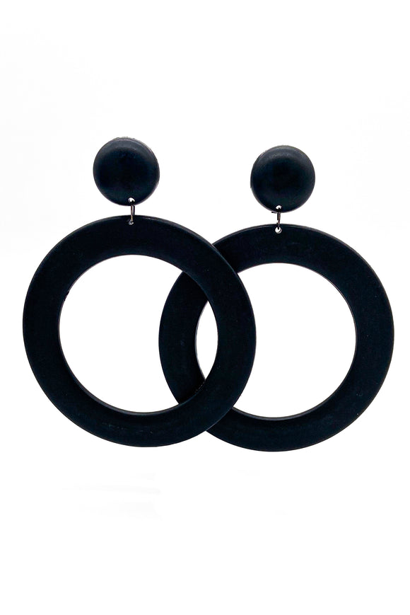 Oversized Black Matte Graphic Hoop Earrings