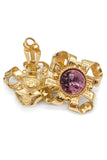 Givenchy Gold Bow Clover Earring with an Amethyst Crystal - BOUTIQUE PURCHASE PRICE