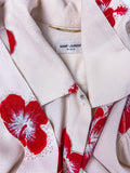 "Saint Laurent Cream Bow Blouse with a Sparkling Hibiscus ""Hawaiien"" Print"