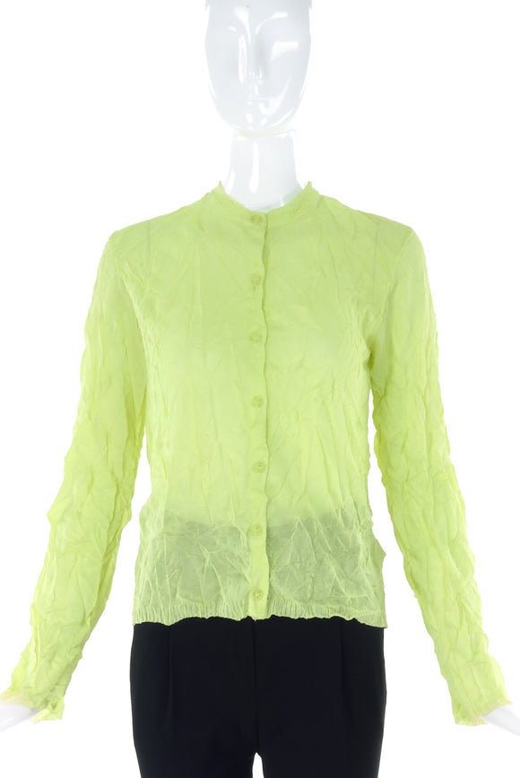 Issey Miyake Neon Yellow Wrinkle Cotton Cardigan - BOUTIQUE PURCHASE PRICE