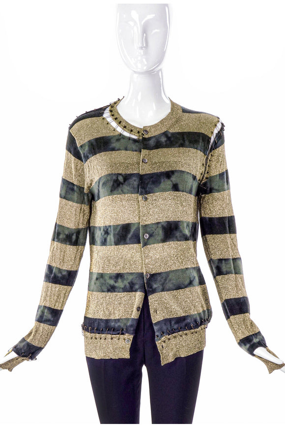 Junya Watanabe Gold Lurex and Tie-dye Green Stripe Cardigan with Antique Gold Safety Pin Details