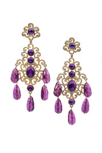 Kenneth Jay Lane Gold Filigree and Amethyst Chandelier Earrings