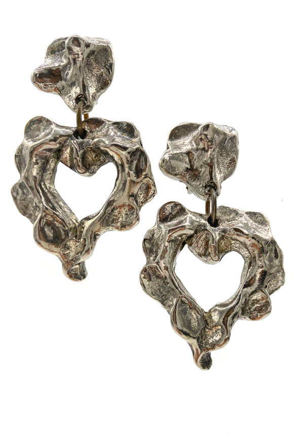 Christian Lacroix Silver Brutalist Heart Earrings