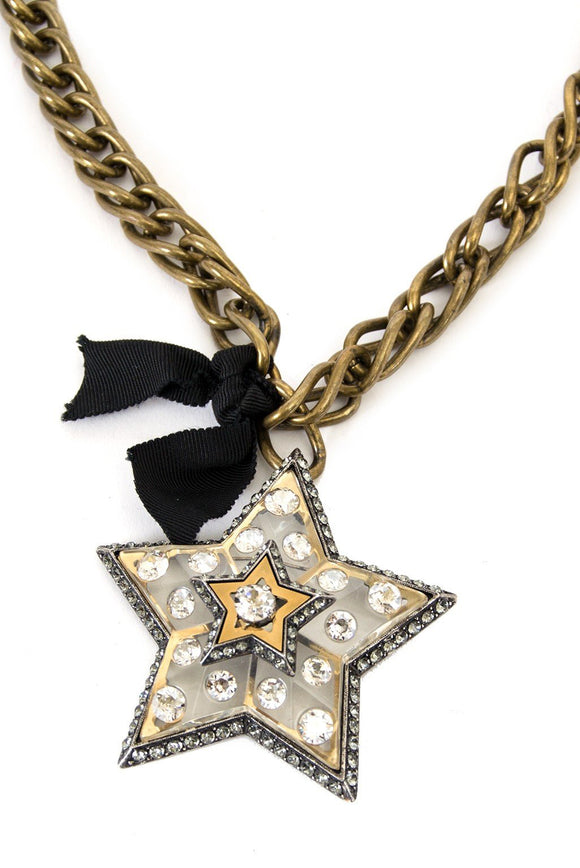 Lanvin Crystal and Lucite Star Necklace / Broach