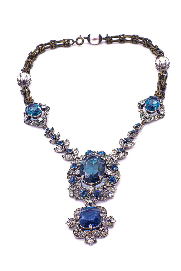 Lanvin Crystal and Sapphire Costume Necklace with Geometric Crystal Pendent