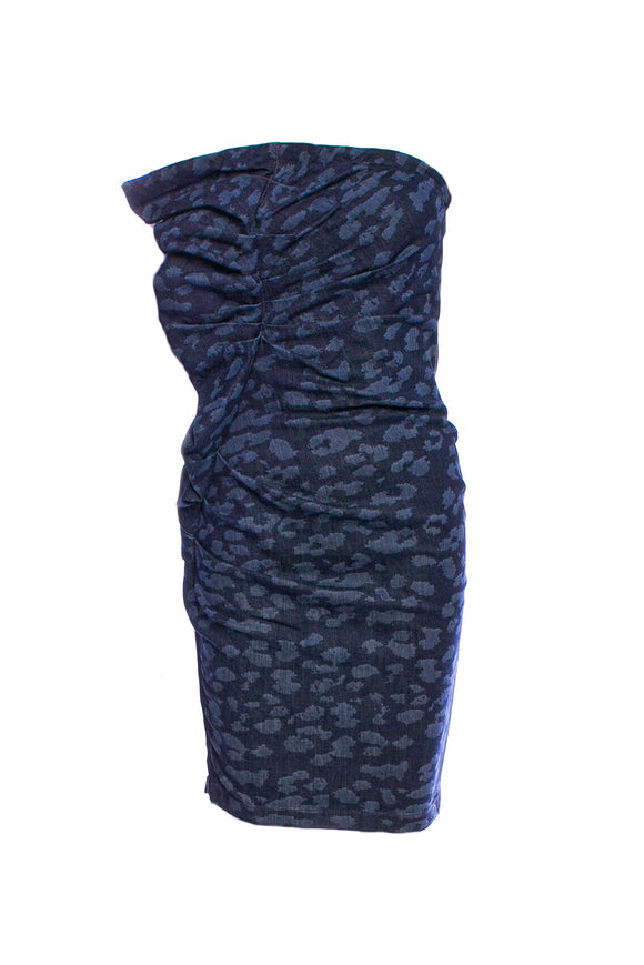 Lanvin Navy Blue Denim Strapless Leopard Print Cocktail Dress