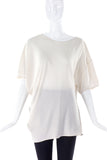 Lanvin White Silk Asymmetrical T-Shirt