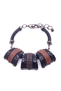"Lanvin ""Safari"" Black and Brown Snakeskin Necklace"