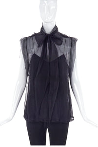 Marc Jacobs Black Chiffon Bow Blouse and Camisole