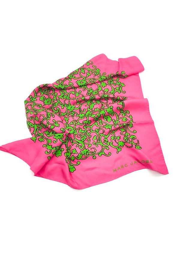 Marc Jacobs Fuchsia and Lime Green Print Silk Scarf FW2009