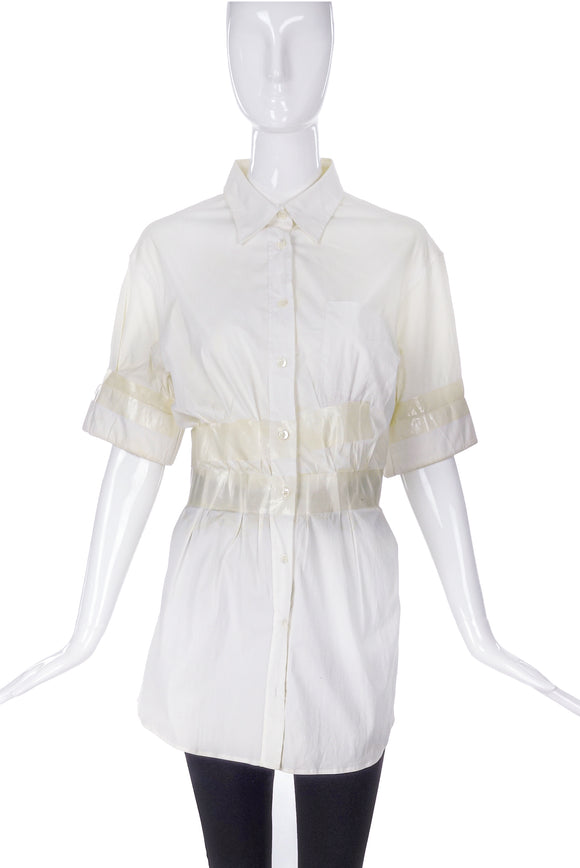 Maison Martin Margiela Clear Duct Taped Cinched Waist Shirt SS2009
