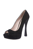 Miu Miu Black Suede Peep Toe Shoes with Black Glitter Sole