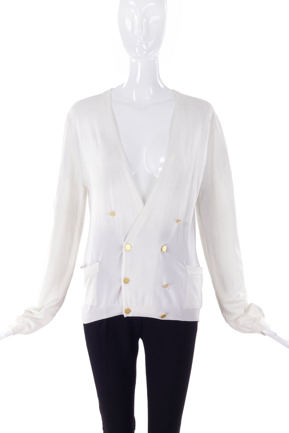 Miu Miu White Nylon Cardigan with Gold Buttons - BOUTIQUE PURCHASE PRICE