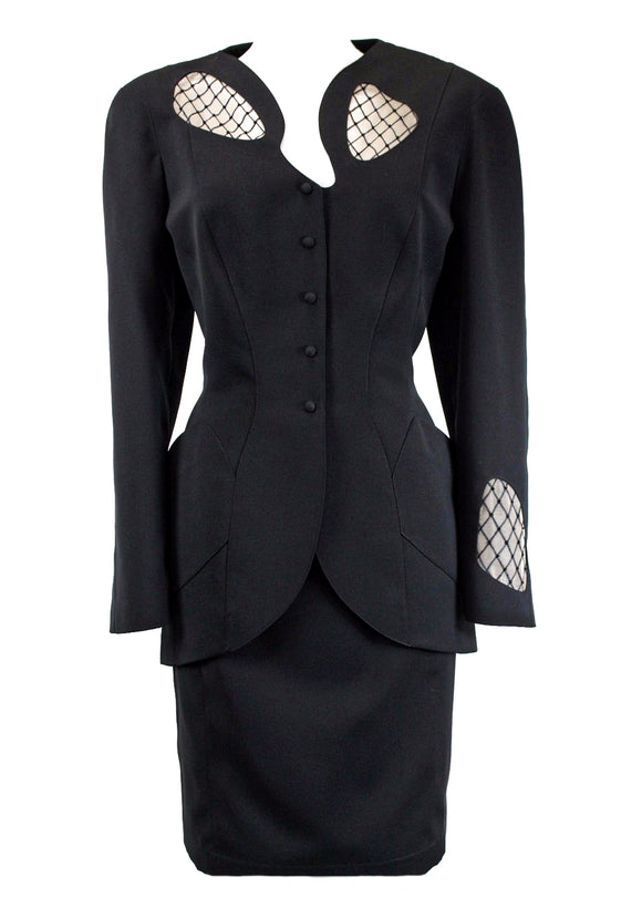 Thierry Mugler Black Suit with Cut-Out Details and Netting - BOUTIQUE PURCHASE PRICE