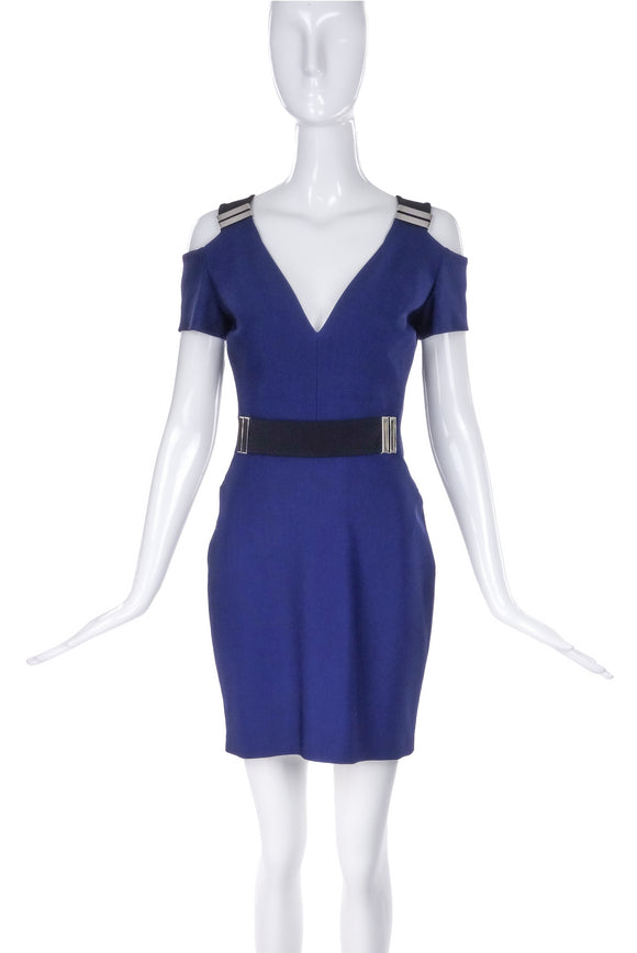 Mugler Navy Blue Mini Dress with Silver Hard Ware Details