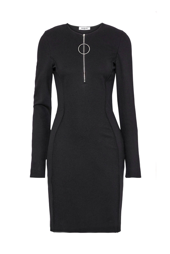 Thierry Mugler Black Jersey Bodycon Dress with Round Zipper Detail - BOUTIQUE PURCHASE PRICE