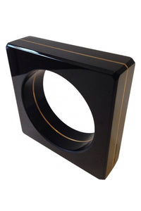 Paco Rabanne Black Glass and Gold Metal Square Bangle by Amélie Riech