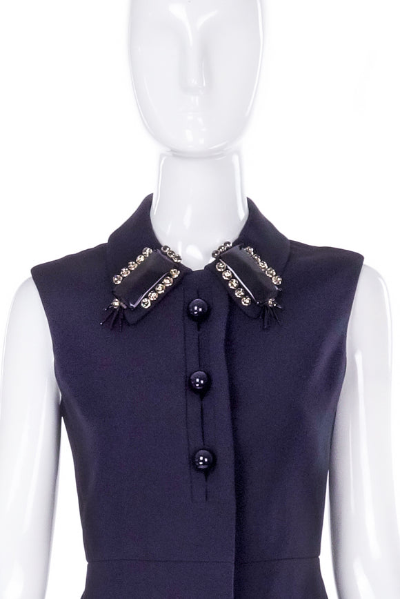 Prada Dress / Vest with Black And Crystal Collar Embellishments