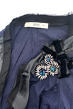 Prada Black Cardigan with Crystal and Ribbon Broach