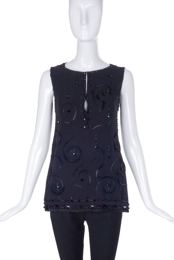 Prada Black Chiffon Tank Top with Beads and Feathers - BOUTIQUE PURCHASE PRICE