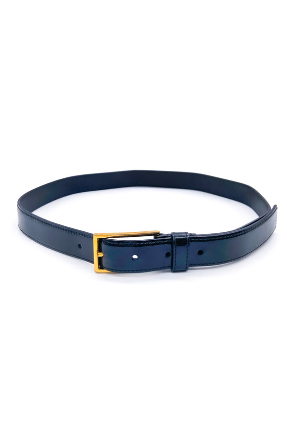 Prada Black Patent Leather Belt with Gold Buckle
