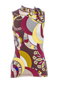Pucci Kaleidoscope Print Mock Neck Top with Bow at Neck