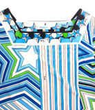 Emilio Pucci Green and Blue Classic Print Midi Shift Dress with Star SS2008 - BOUTIQUE PURCHASE PRICE