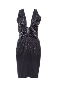 Roberto Cavalli Black Bead and Sequin Cocktail Dress