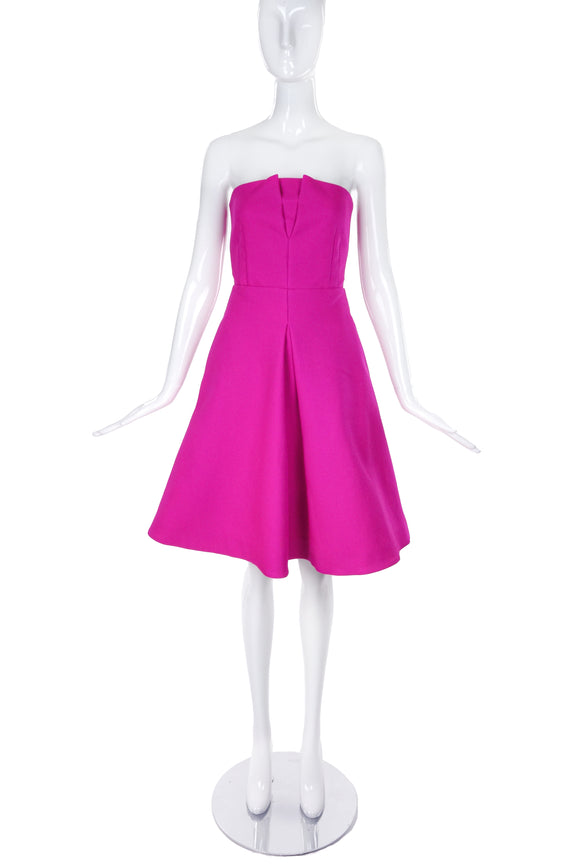 Rochas Hot Pink Strapless Fit and Flare Dress