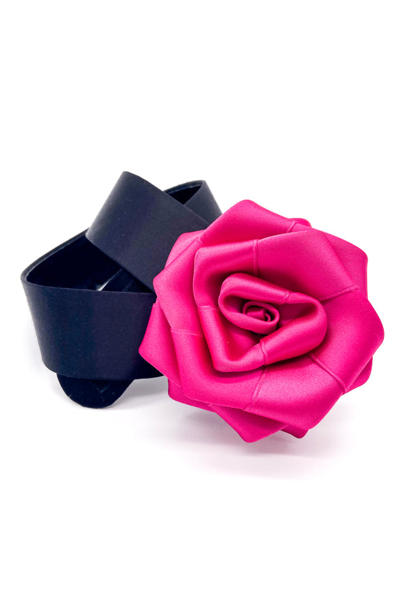 Exquisite Pink Rose Satin Belt