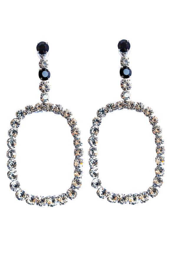 Saint Laurent Diamond Hoop Earrings with Black Diamond Details