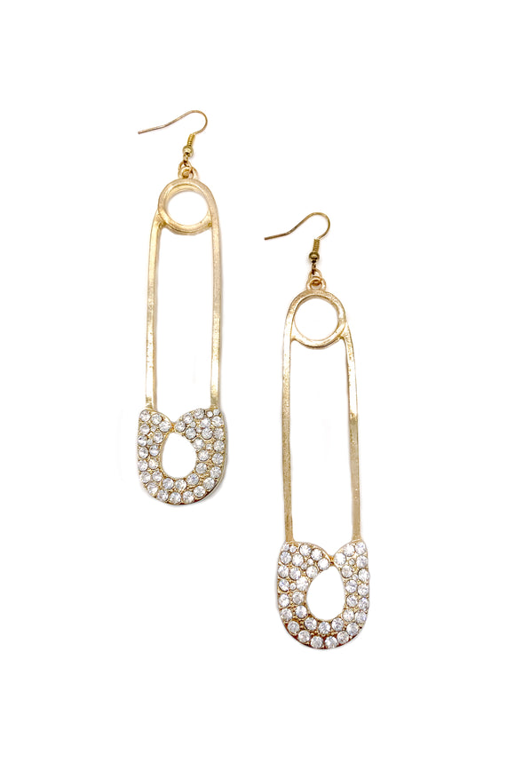 Vintage Gold Oversize Safety Pin Earrings with Crystal Details