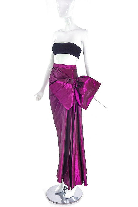Saint Laurent Rive Gauche Purple Metallic Bow Skirt FW1987