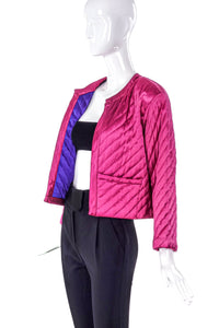 Yves Saint Laurent Pink Satin Quilted Jacket - BOUTIQUE PURCHASE PRICE