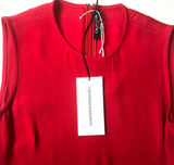 Calvin Klein 205W39NYC by Raf Simons Red Asymmetrical Dress with Fringe Detail