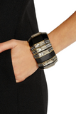 "Lanvin ""Victoria"" Crystal and Black Resin Art Deco Bracelet Pre-Fall2014"