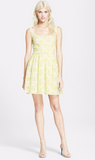 Christopher Kane White and Neon Yellow Eyelet Lace Dress