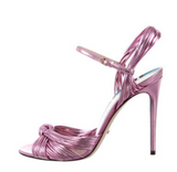 Gucci Pink Metallic Strappy Heeled Sandal - BOUTIQUE PURCHASE PRICE