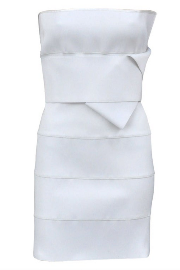 Yves Saint Laurent by Tom Ford White Elastic Bandeau Dress