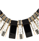 Lanvin Gold Black Crystal Art Deco Necklace
