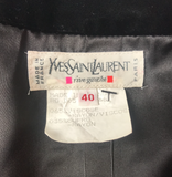 Yves Saint Laurent Black Velvet Cropped Ruffle Jacket - BOUTIQUE PURCHASE PRICE