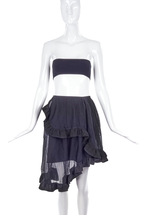Simone Rocha Black Asymmetrical Ruffle Skirt - BOUTIQUE PURCHASE PRICE