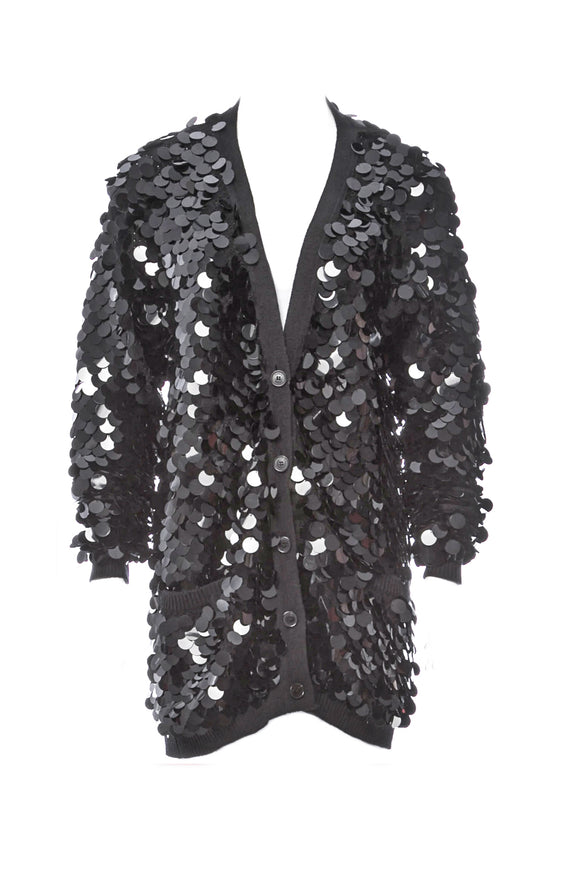 Sonia Rykiel Black Sequin Paillette Cardigan - BOUTIQUE PURCHASE PRICE