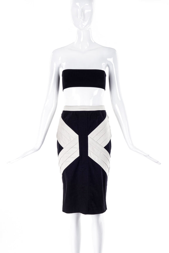 Thierry Mugler Black Pencil Skirt with Graphic Pleating Details - BOUTIQUE PURCHASE PRICE
