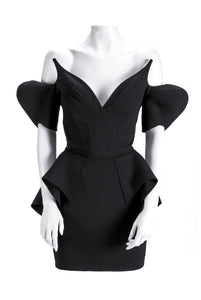 "Thierry Mugler Black Velvet ""Vampire"" Dress Haute Couture 1981 - BOUTIQUE PURCHASE PRICE"