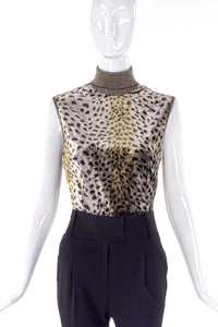 Emanuel Ungaro Velvet Leopard Print Turtleneck - BOUTIQUE PURCHASE PRINT
