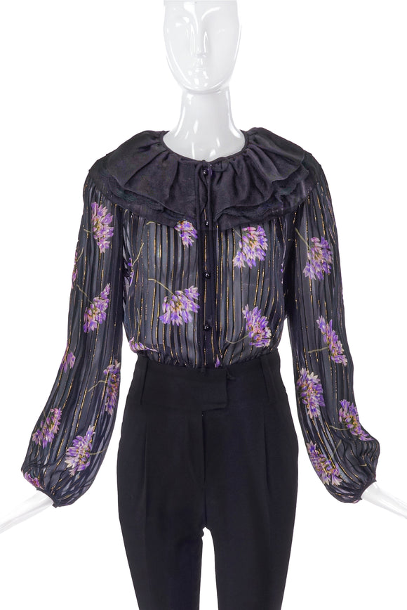 Valentino Chiffon Floral Print Blouse with Lurex Stripes - BOUTIQUE PURCHASE PRICE