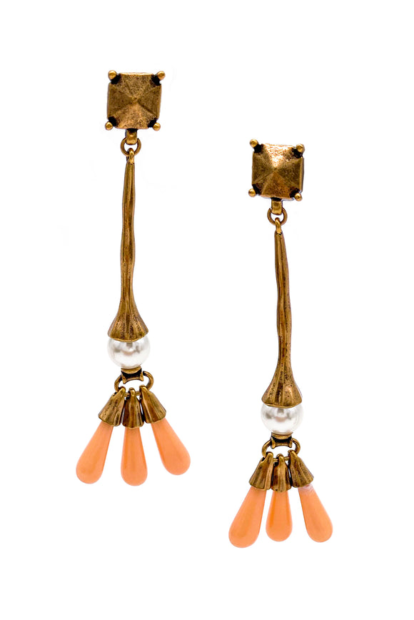 Valentino Bronze Drop Earrings with Coral Bead Details - BOUTIQUE PURCHASE PRICE